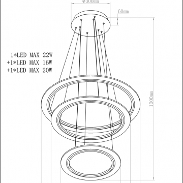 Светильник подвесной &quot,кольца&quot, k2brl-1053p