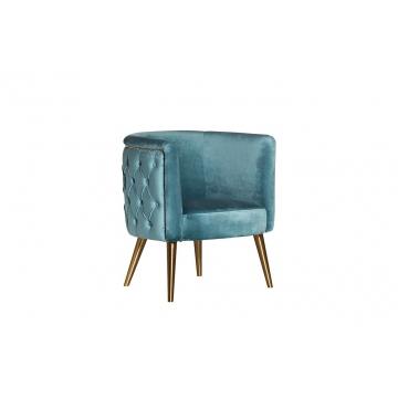 Кресло велюровое бирюзовое на металлических ножках 48my-2533 tur gld