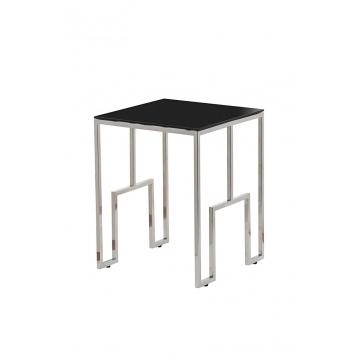 Журнальный столик из черного стекла серебряный