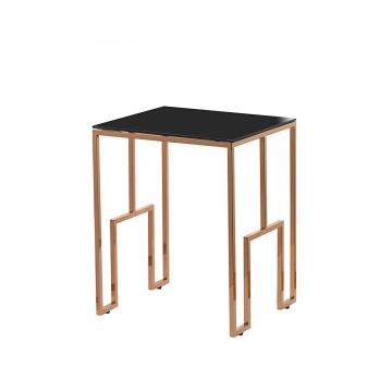 Журнальный стол из черного стекла золотой