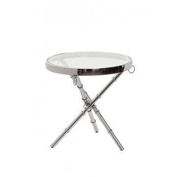 Столик журнальный металлический круглый серебряный