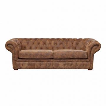 Диван кожаный трехместный коричневый