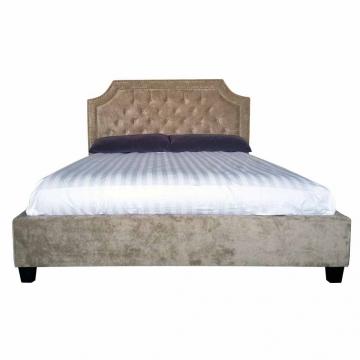 Кровать двуспальная бежевый бархат bs2022