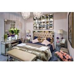Кровать с зеркальными вставками (бежевая) kfc1159e7