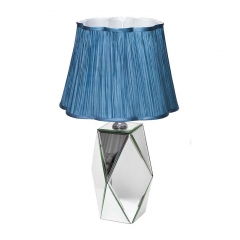 Лампа настольная с зеркальными вставками (синий плафон) kfe001