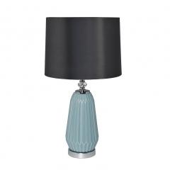 Лампа настольная из голубого стекла (серый абажур) 22-87819