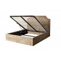 Кровать двуспальная бархатная бежевая (с подъемным механизмом) bs2022-f bg