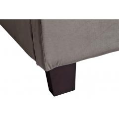 Кровать двуспальная велюровая серо-бежевая n-newb01 bg br