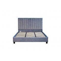 Кровать двуспальная велюровая серая n-b1743gr
