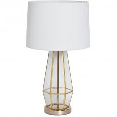 Лампа настольная металлическая золотая (белый абажур) 22-88243