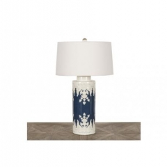 BLUE & WHITE CERAMIC LAMP WITH WHITE SHADE