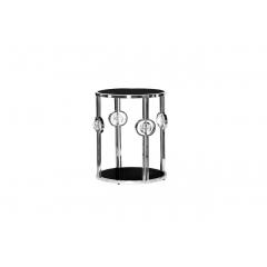 Журнальный столик с черным стеклом (серебряный)