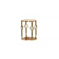 Журнальный столик с коричневым стеклом (золотой)