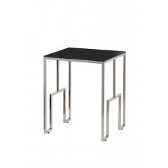 Журнальный стол из черного стекла серебряный