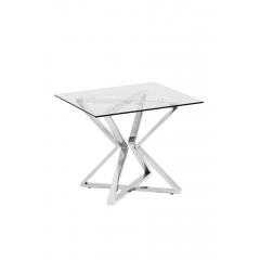 Журнальный столик со стеклом (серебряный)