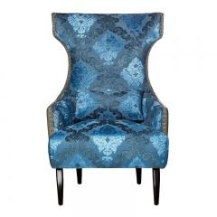 Кресло синее глубокое с ушами