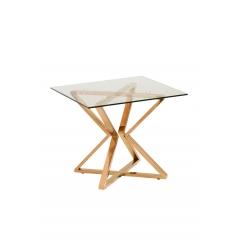 Журнальный столик со стеклом (золотой)